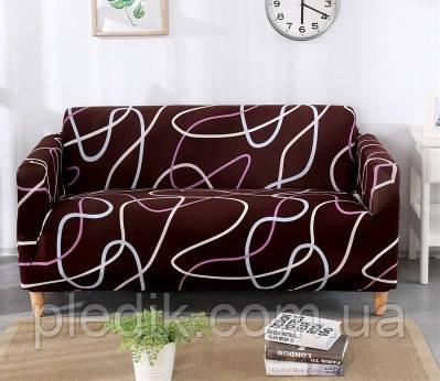 Чехол на диван HomyTex универсальный эластичный 3-х местный Волна коричневая (кофе)