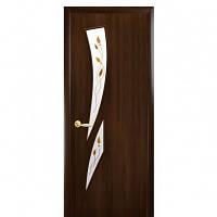 Дверь Модерн Камея ПВХ со стеклом сатин и рисунком P1 - орех premium
