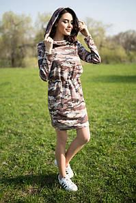 Коричневое трикотажное платье SANDY в камуфляжный принт с капюшоном