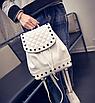Рюкзак женский городской кожзам с камнями Бежевый, фото 2