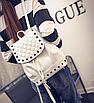 Рюкзак женский городской кожзам с камнями Бежевый, фото 4