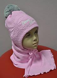 Комплект зимовий Snow Star: шапка з шарфом для дівчинки (AJS, Польща)