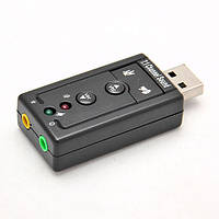 USB Звуковая карта 7.1 3D звук регулятором громкости