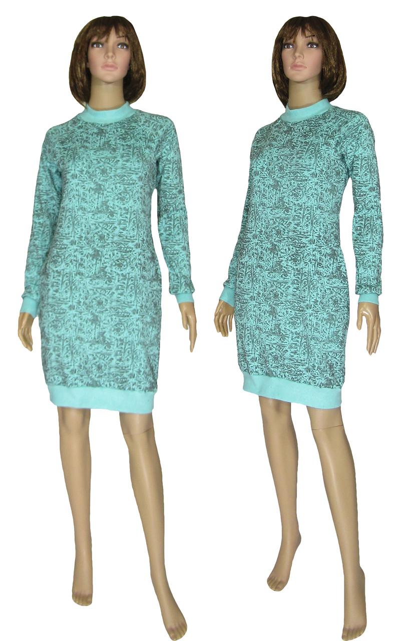 Платье женское теплое 18073 Redgen Mentol Melange вязанный трикотаж стрейч-коттон начес, р.р.42-56