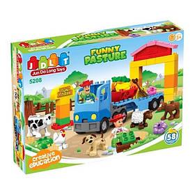"""Конструктор JDLT 5208 """"Веселая ферма животные фигурки"""", 58 деталей. (Аналог Lego Duplo)"""