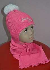 Комплект зимний Snow Star: шапка с шарфом для девочки (AJS, Польша)