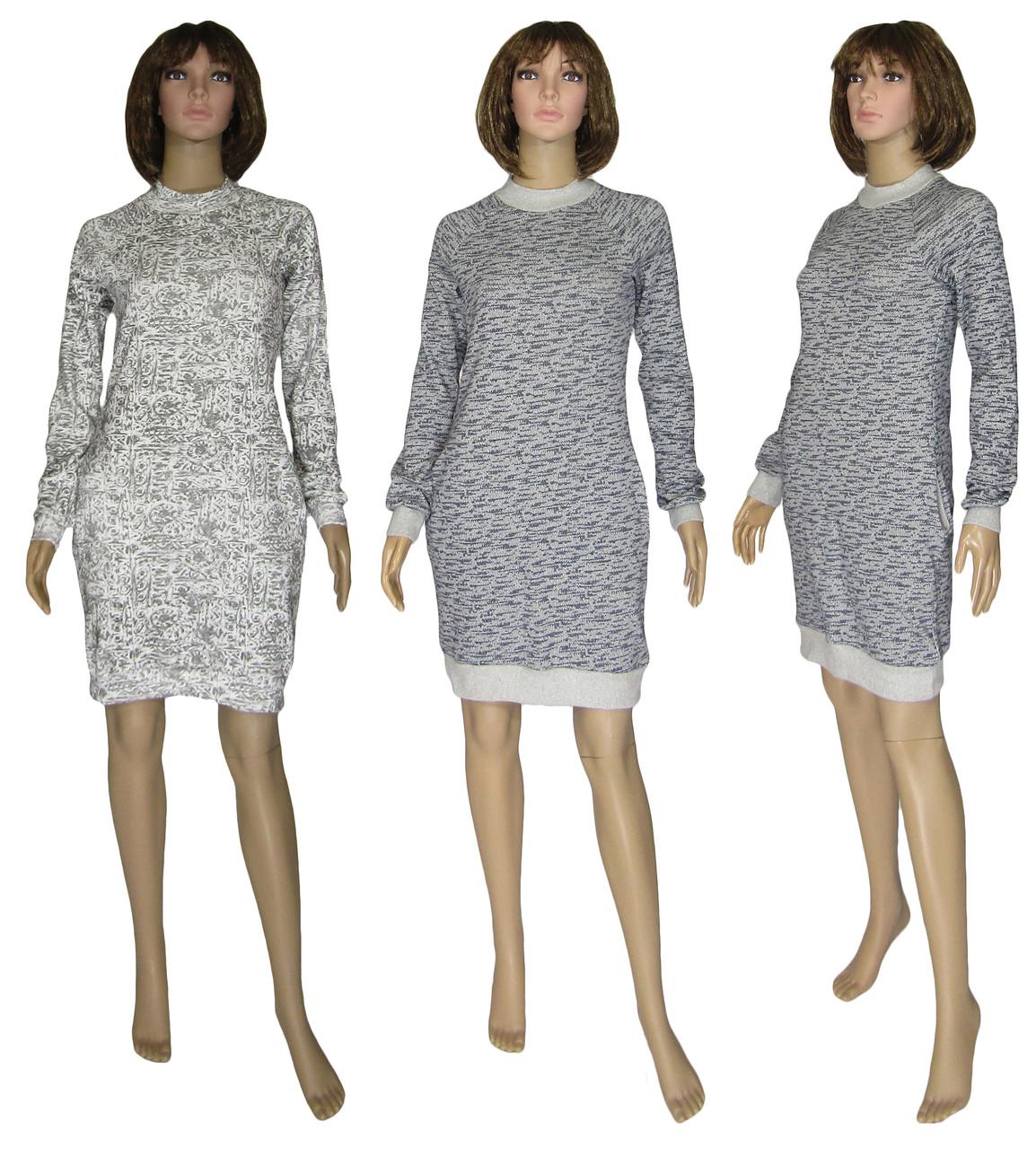 Платье женское теплое 18073 Redgen Grey Melange вязанный трикотаж стрейч-коттон начес, р.р.42-56