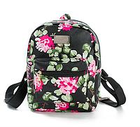 Рюкзак женский кожзам Цветочный Guana Черный