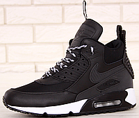 Кроссовки Мужские Зимние Nike Air Max 90 Sneakerboot Winter, найк аир макс 90 чёрные, реплика