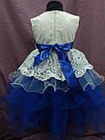 Платье детское нарядное с многослойной юбкой на 4-6 лет синее с молочным, фото 2