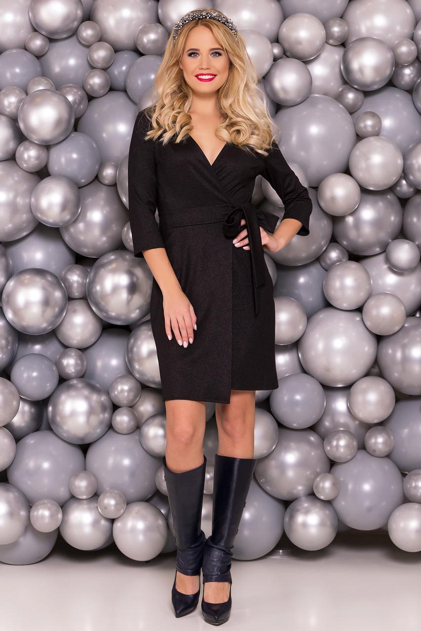 c53412a998d54c0 Платье на запах черного цвета с напылением - Интернет-магазин