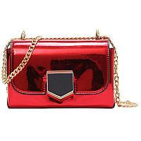 Женская красная лаковая сумка через плечо