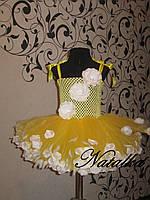 Юбка-платье ту-ту из фатина с лепестками и повязкой