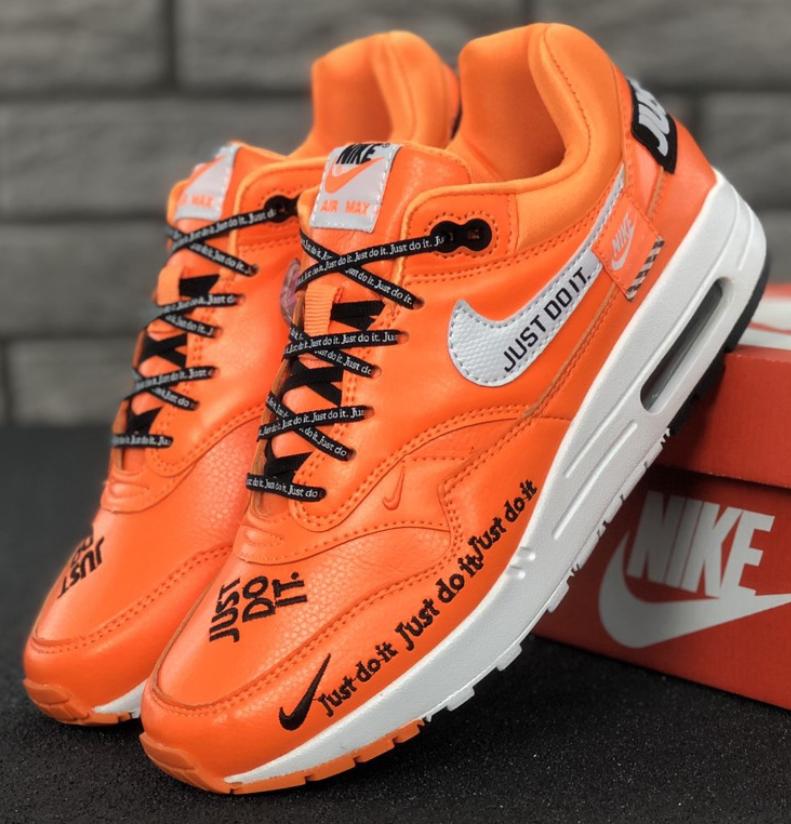 "Кроссовки Мужские Nike  Air Max 1 ""Just Do It"", Найк Аир Макс 90 оранжевые"