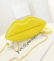 Женская желтая сумка-губы для девочки,кроссбоди