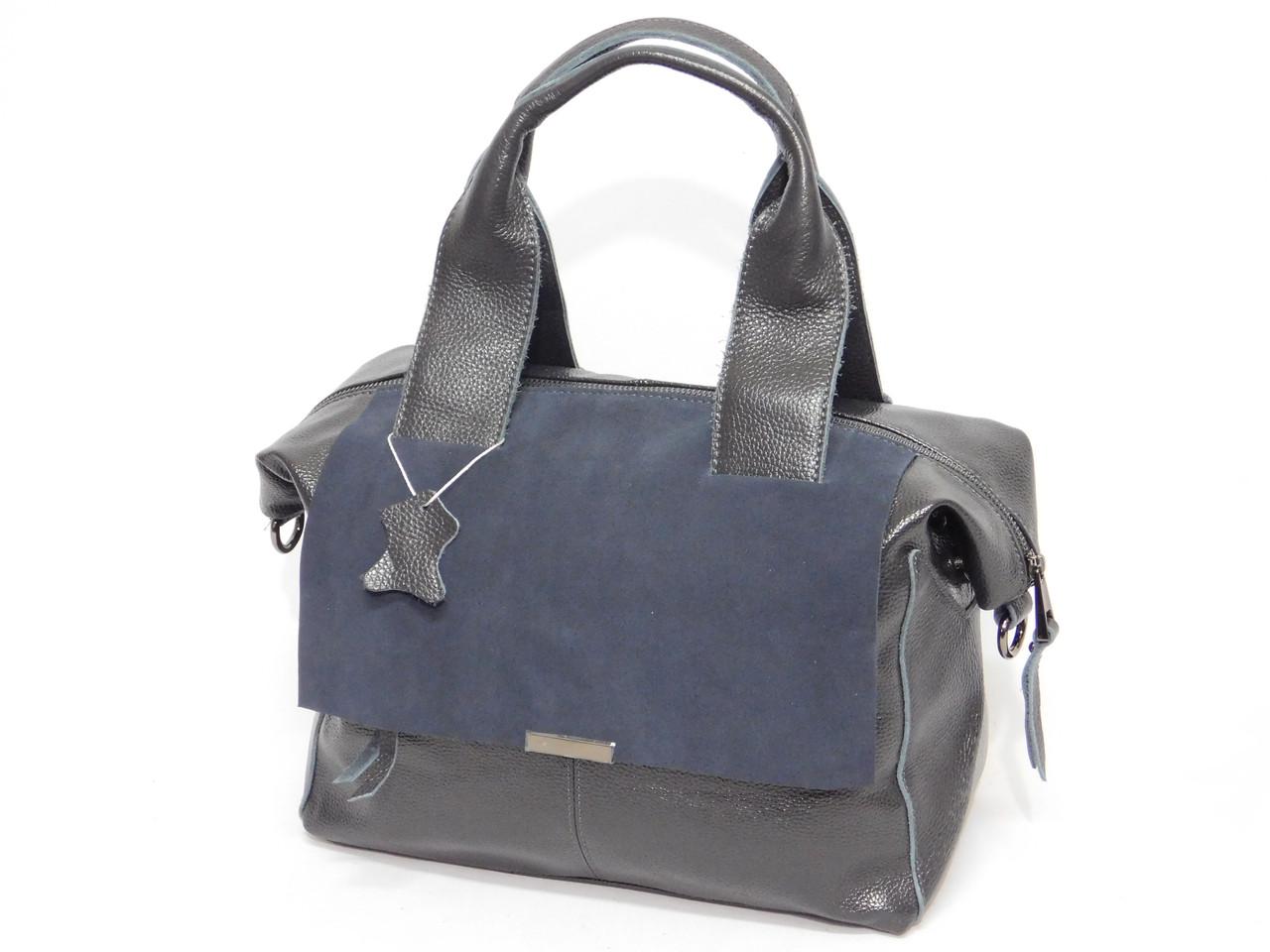 Серый цвет сумки из натуральной кожи