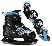 Роликовые коньки SportVida 4 в 1 SV-LG0021 Size 39-42 Black/Blue, фото 1