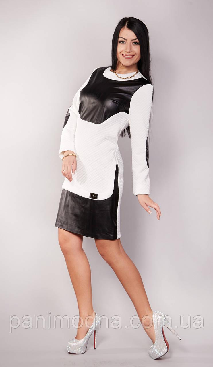 Модное молодежное платье с кожей  Инфинити  - от производителя