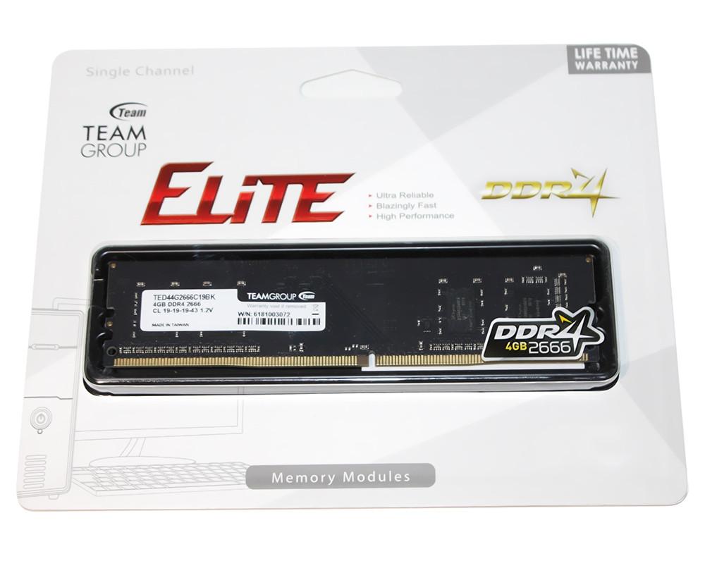 Память 4Gb DDR4, 2666 MHz, Team Elite, 19-19-19, 1.2V (TED44G2666C1901)