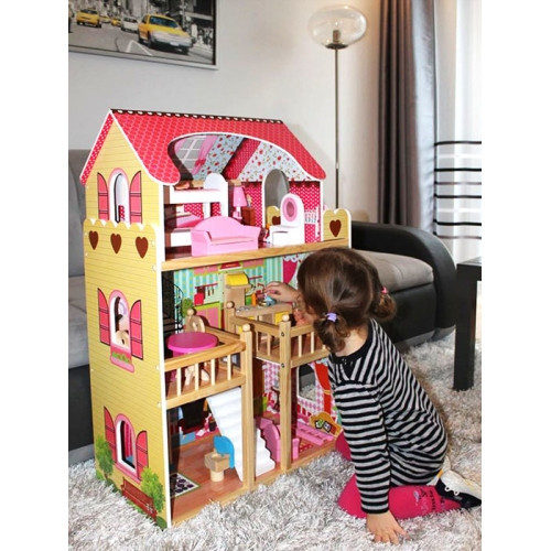 Большой деревянный кукольный домик c мебелью ECOTOYS