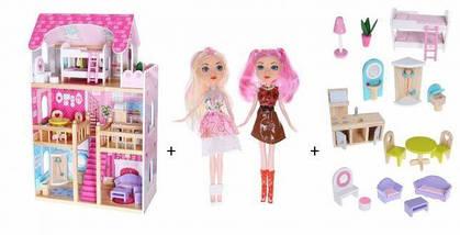 Большой деревянный кукольный домик c мебелью ECOTOYS, фото 3
