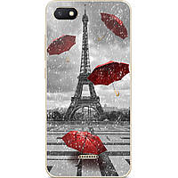 Бампер силиконовый чехол для Xiaomi Redmi 6a с рисунком Дождь в Париже