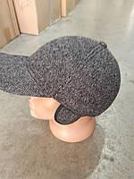 Бейсболка серая мужская  ( пальтовая ткань) на флисе, уши.