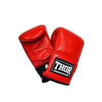 Снарядные перчатки THOR 606 (Leather) красные, фото 1