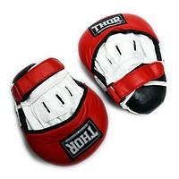 Лапы боксерские THOR 820 (Leather) бело-красные, фото 1