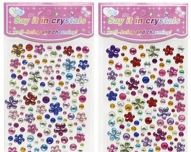 Самоклеющиеся стразы цветы/круги, ассорти цветов, 10*16 см, ООПТ, 8191, 112060