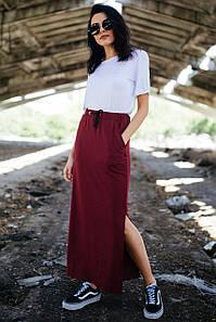Бордовая юбка Nesti из трикотажа длинная