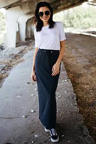 Тёмно-серая хлопковая юбка Nesti макси с разрезом