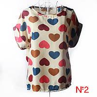 Блузка Женская Летняя короткий рукав . Молочная в Сердце.