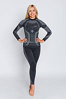 Комплект женского термобелья с шерстью мериноса HASTER MERINO WOOL зональное бесшовное шерстяное SM, Серый