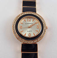 Часы женские наручные Chanel (Шанель) 012608 черные с золотом