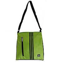 Спортивная сумка-барсетка маленькая, салатовая с черной отделкой