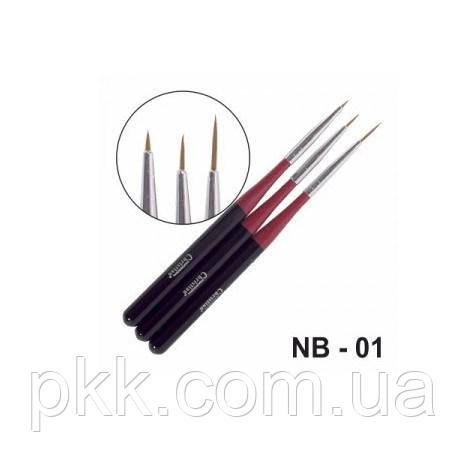 Набор кисточек для дизайна ногтей CHRISTIAN тонкие 3 штуки NB-01