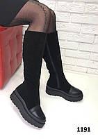 Женские сапоги на платформе черные еврозима