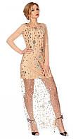 Вечернее платье с сеткой и пайетками бежевого цвета. Модель 1119. Размер 48