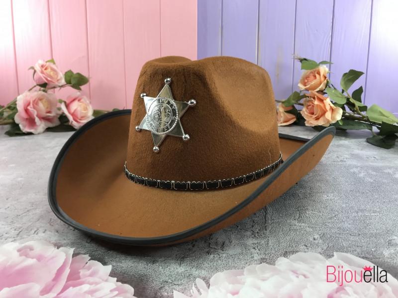 Карнавальная шляпа дикого Запада - шляпа Шерифа светло-коричневого цвета, большая