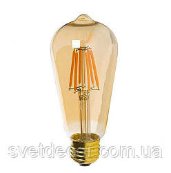 Лампа Эдисона светодиодная Filament ST64 К2 6W Е27 (груша)