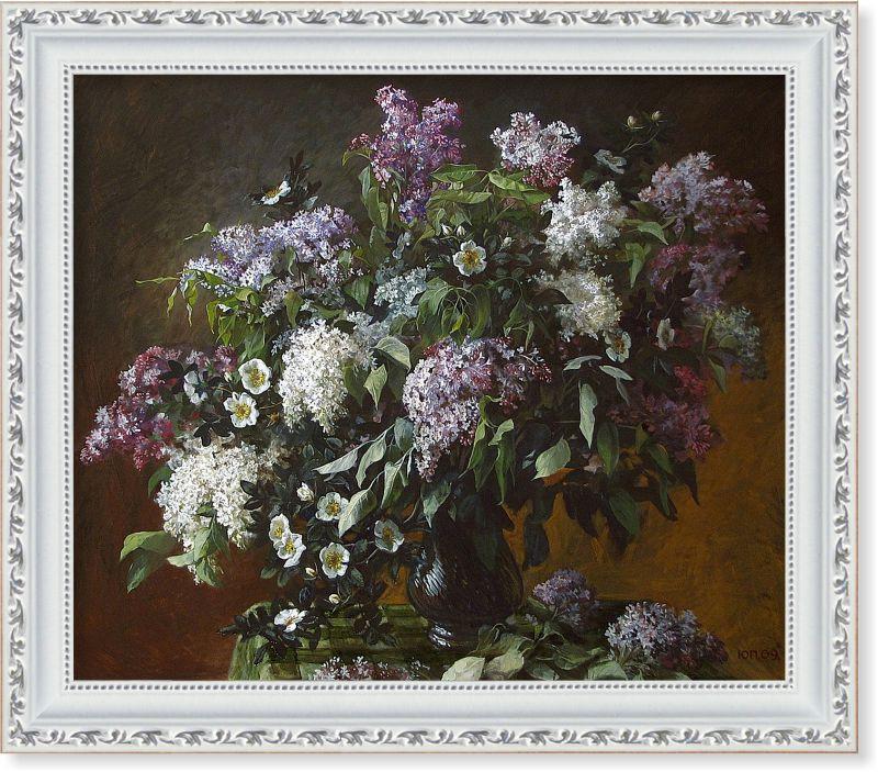 Репродукція сучасної картини «Натюрморт з букетом бузку»
