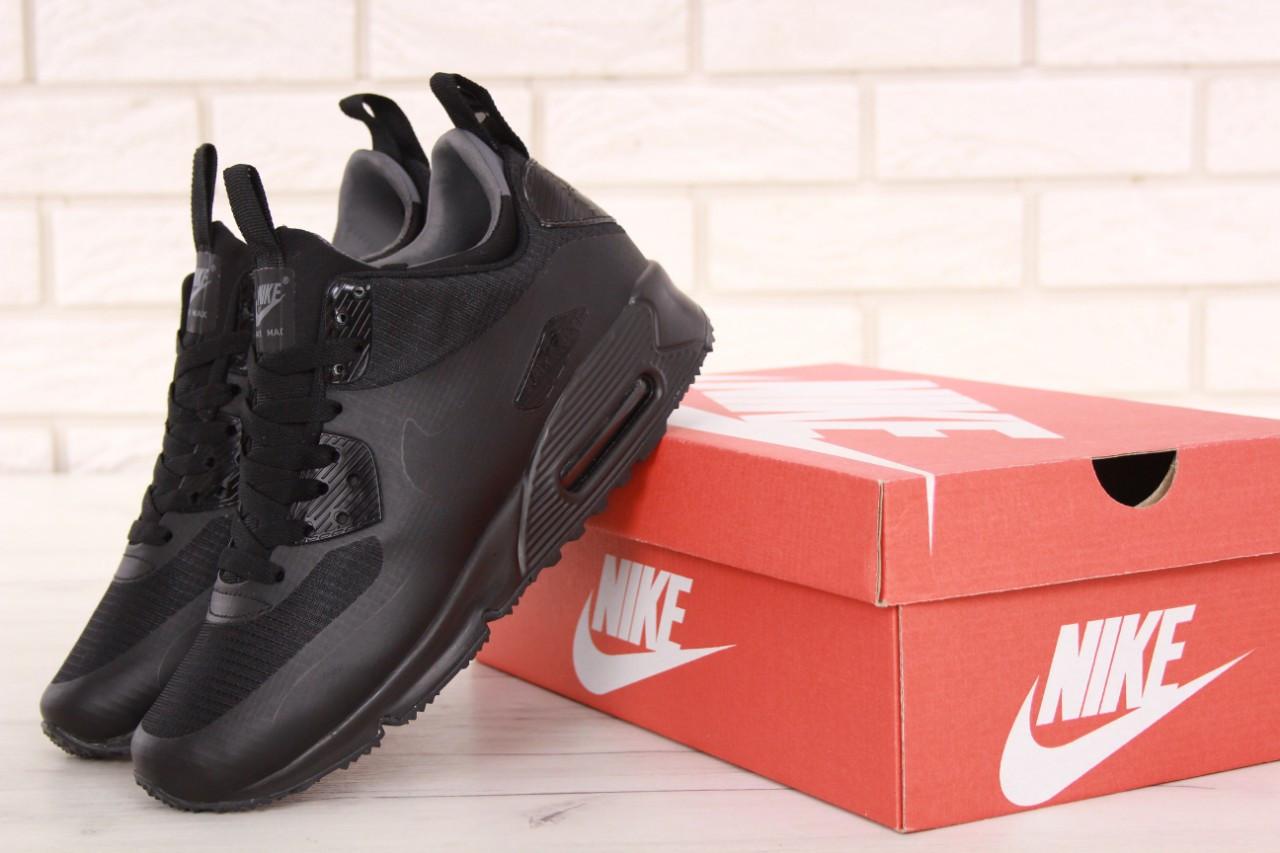 2151ec431aa Кроссовки зимние мужские в стиле Nike Найк Air Max 90 Mid, натуральная  кожа, термопрокладка