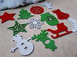 Набір дерев'яних новорічних іграшок в подарунковій коробці з гравіруванням, фото 4