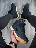 Ботинки зимние мужские в стиле Nike Karstman, нубук, натуральный мех код PO-В00956. Темно-синие