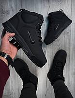 Ботинки зимние мужские в стиле Nike Karstman, нубук, натуральный мех код PO-В00919. Черные