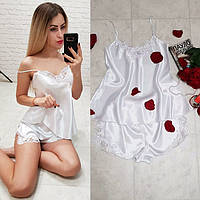 Шелковая женская пижама спальный комплект нижнее белье шорты маечка с кружевом белая S M L XL, фото 1