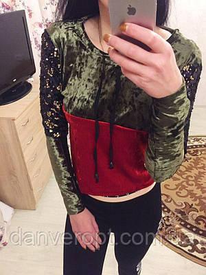 Свитшот женский стильный с пайеткой размер S-XL купить оптом со склада 7км  Одесса 010cf25e000