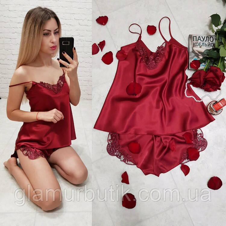 32b599cd6b37 Шелковая женская пижама спальный комплект нижнее белье шорты маечка с  кружевом ...