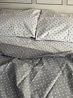 Семейный комплект постельного белья сердечки на бело- сером фоне